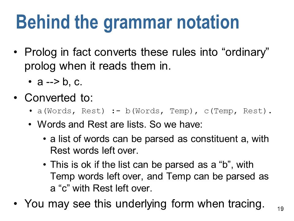 Behind the grammar notation