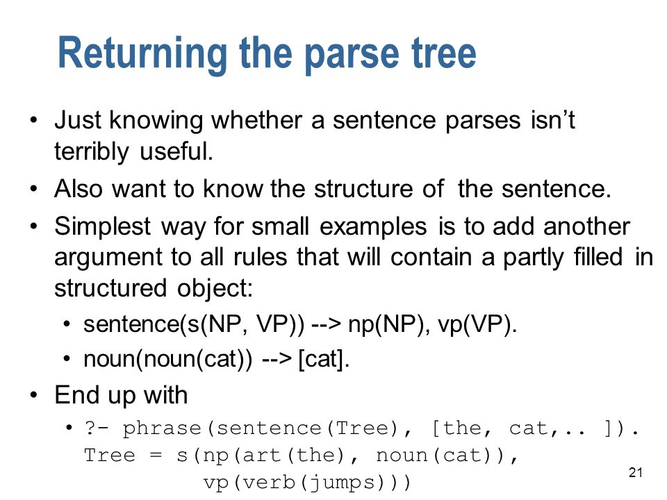 Returning the parse tree