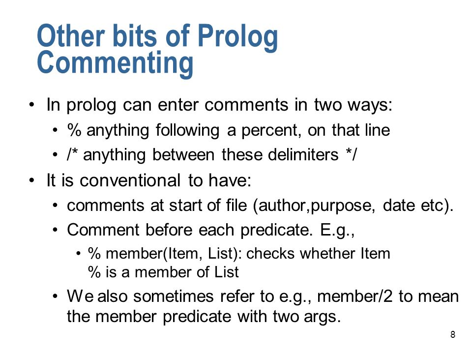 Other bits of Prolog Commenting