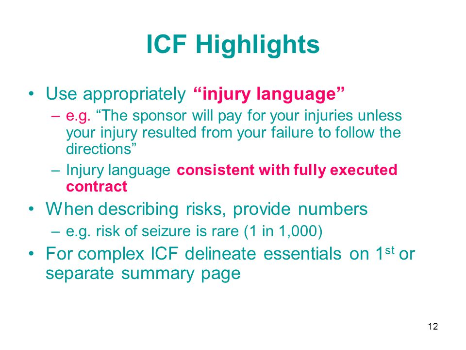 ICF Highlights Use appropriately injury language