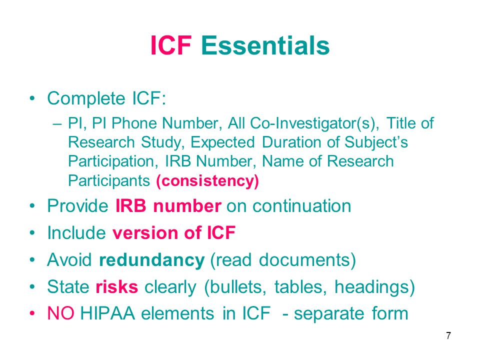 ICF Essentials Complete ICF: Provide IRB number on continuation