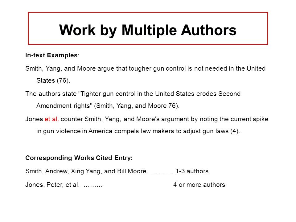 Work by Multiple Authors