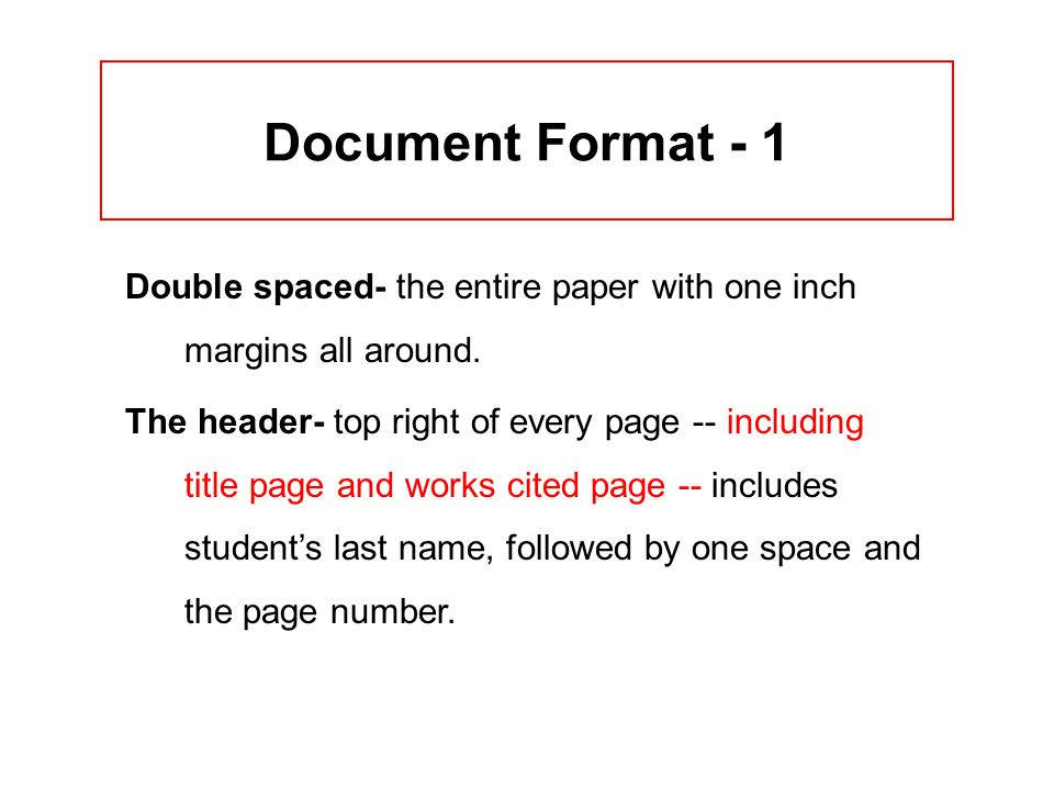 Document Format - 1