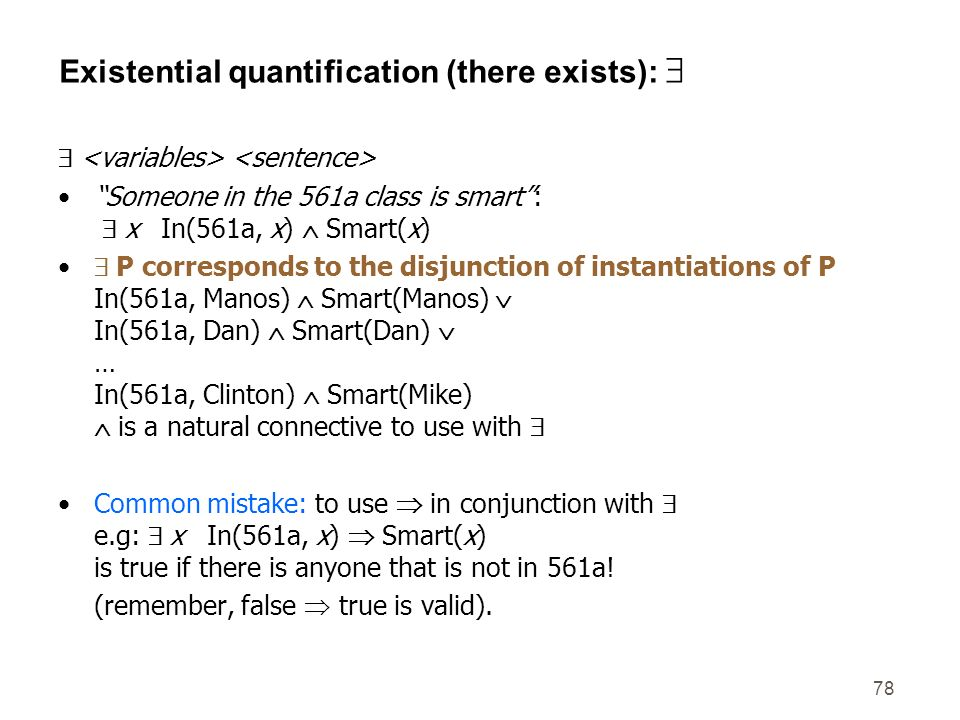 Existential quantification (there exists): 