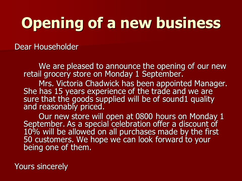 new store opening announcement