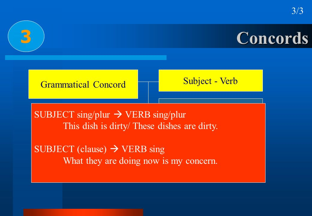 3 Concords 3/3 Subject - Verb Grammatical Concord Subject - Complement