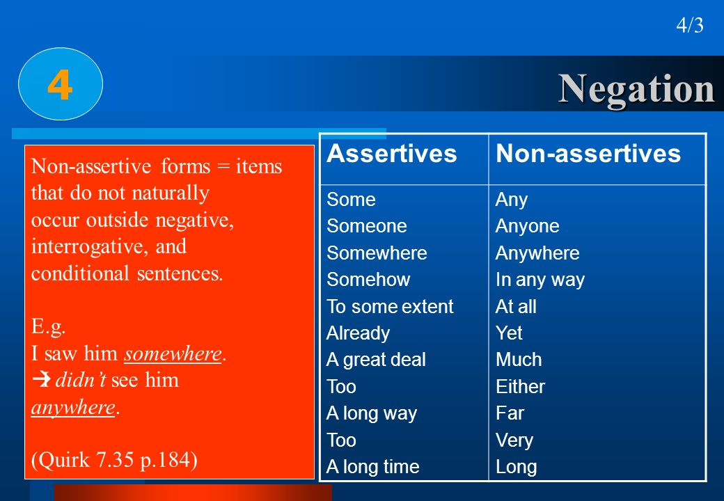 4 Negation Assertives Non-assertives 4/3 Non-assertive forms = items