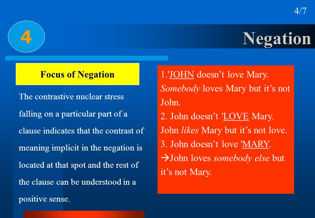 4 Negation 4/7 Focus of Negation 1. JOHN doesn't love Mary.