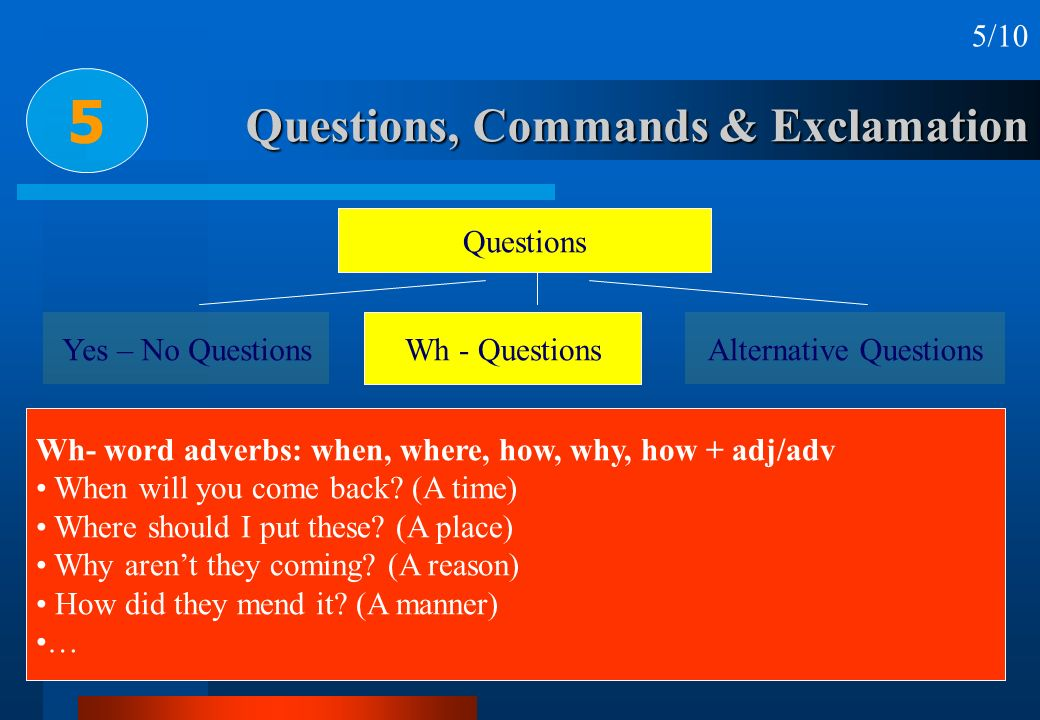 Questions, Commands & Exclamation