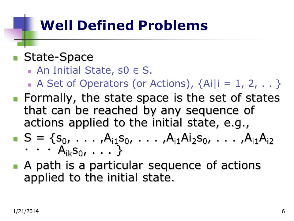 Well Defined Problems State-Space