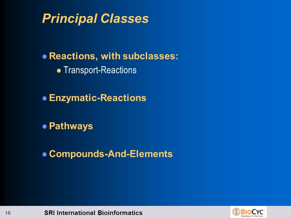 Principal Classes Reactions, with subclasses: Transport-Reactions