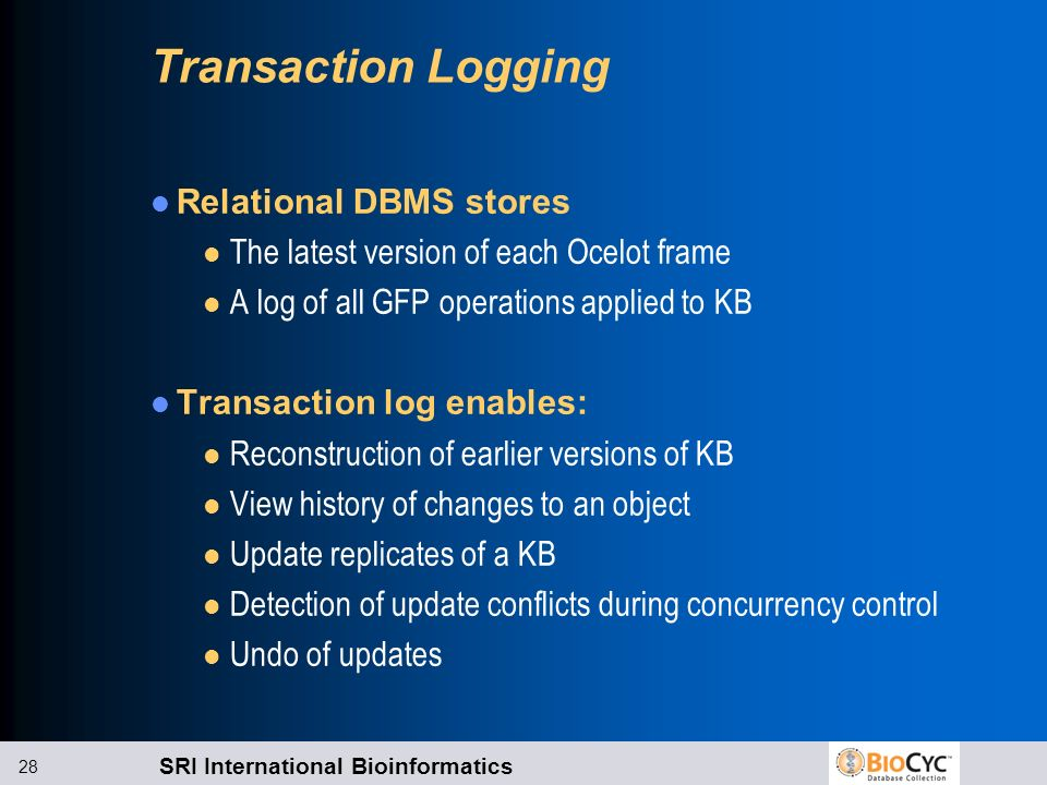 Transaction Logging Relational DBMS stores