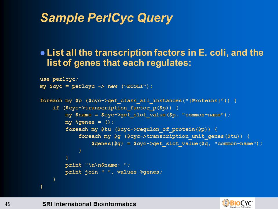 Sample PerlCyc Query List all the transcription factors in E. coli, and the list of genes that each regulates: