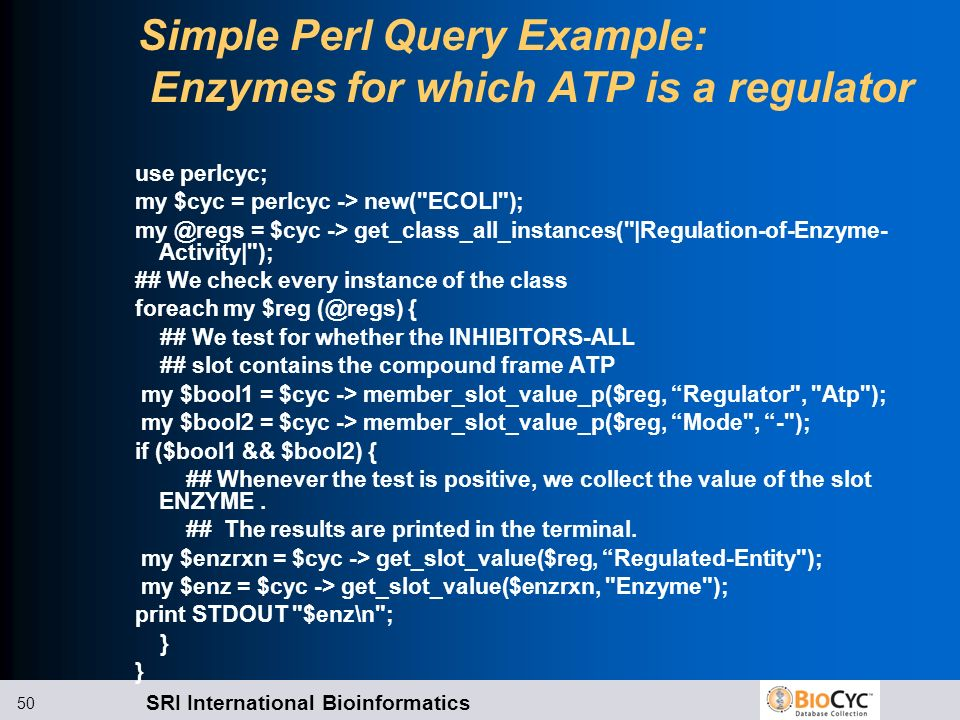 Simple Perl Query Example: Enzymes for which ATP is a regulator