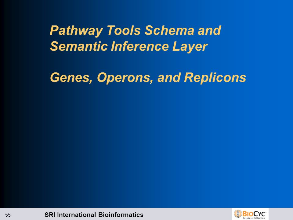 Pathway Tools Schema and Semantic Inference Layer Genes, Operons, and Replicons