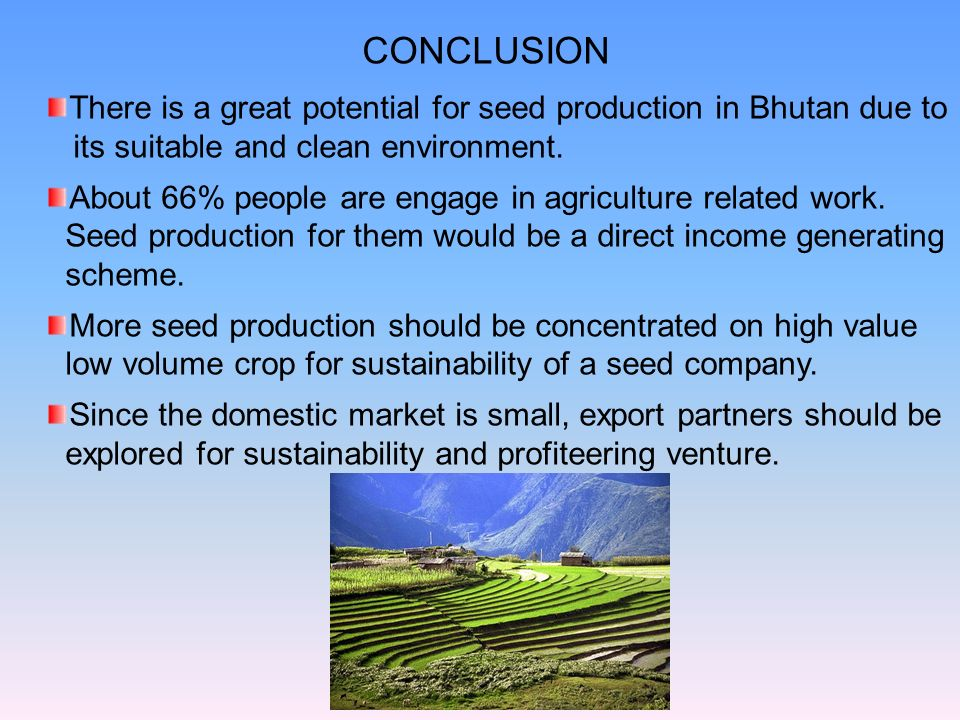 CONCLUSION There is a great potential for seed production in Bhutan due to. its suitable and clean environment.