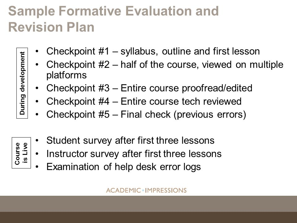 Sample Formative Evaluation and Revision Plan