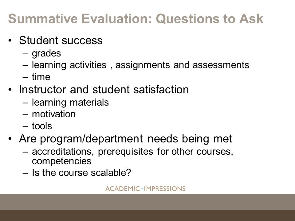 Summative Evaluation: Questions to Ask