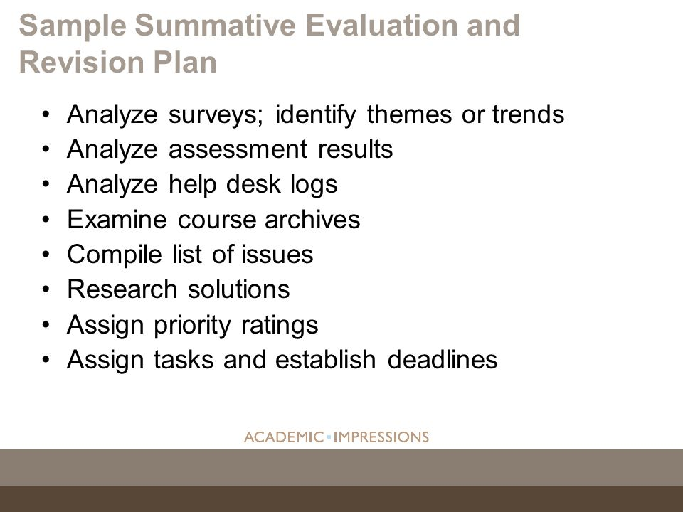 Sample Summative Evaluation and Revision Plan