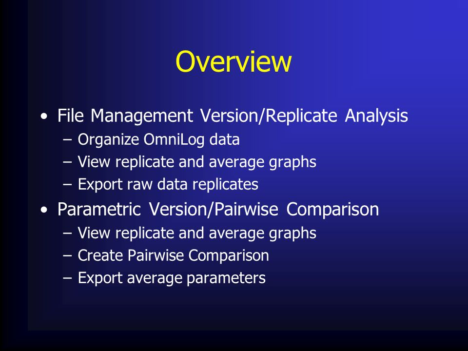 Overview File Management Version/Replicate Analysis