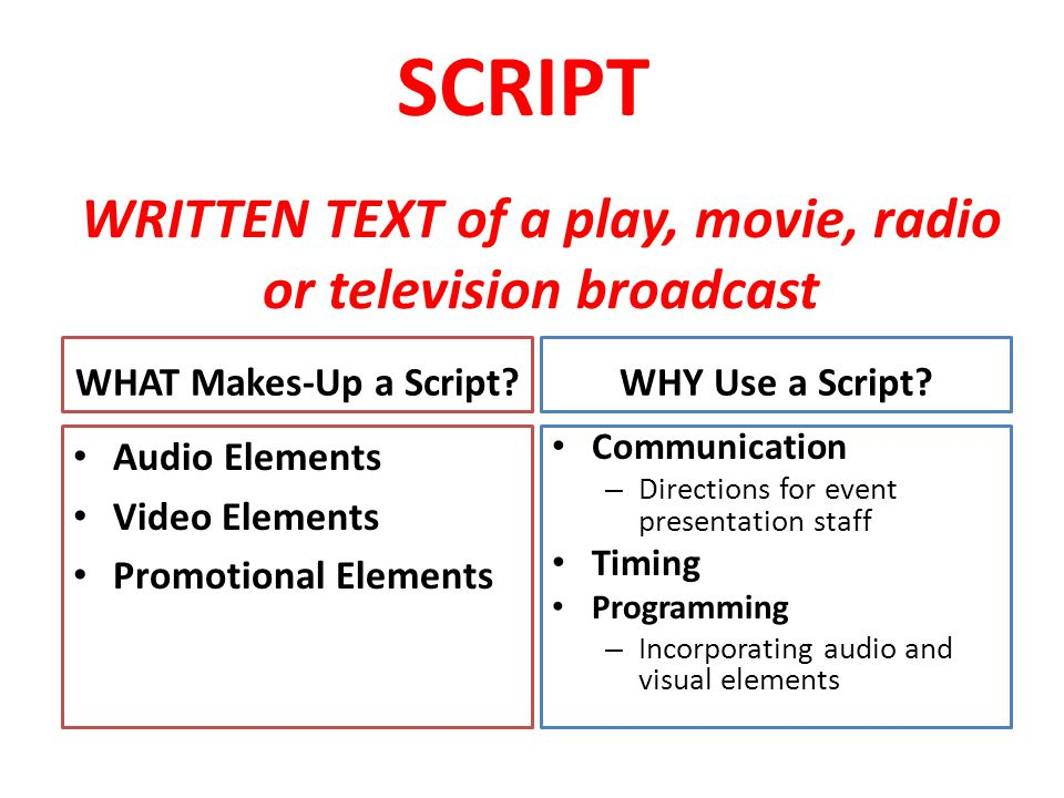 WRITTEN TEXT of a play, movie, radio or television broadcast