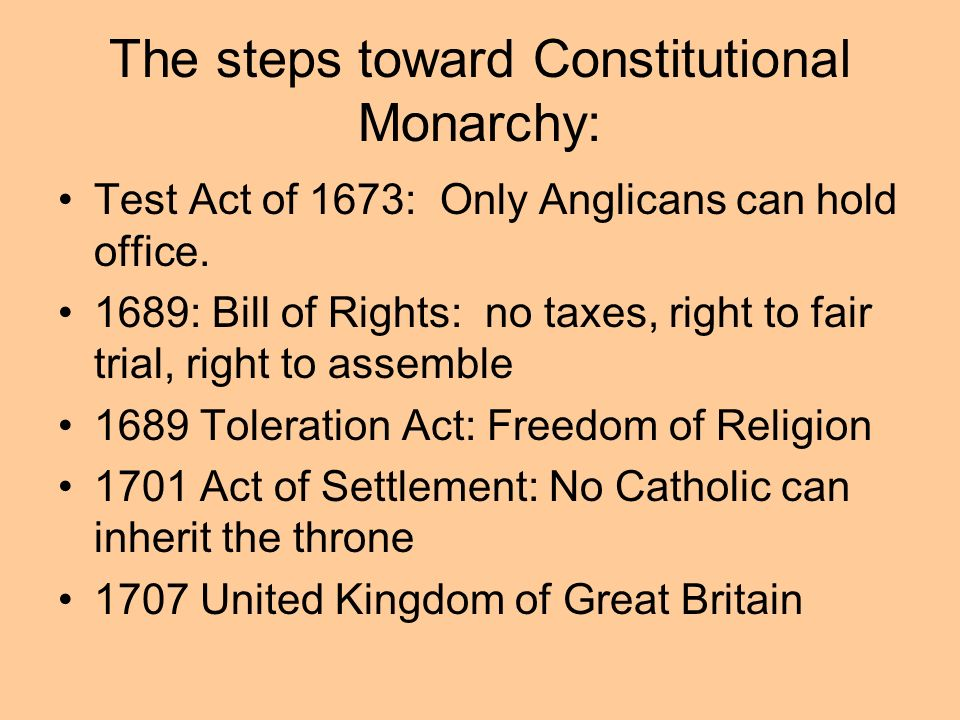 The steps toward Constitutional Monarchy: