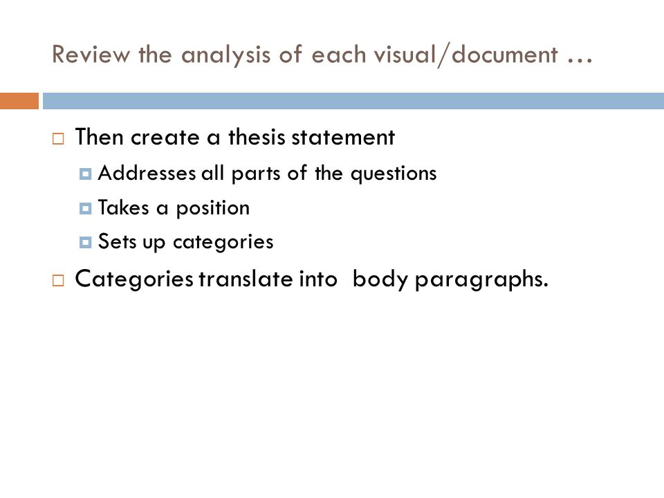 Review the analysis of each visual/document …