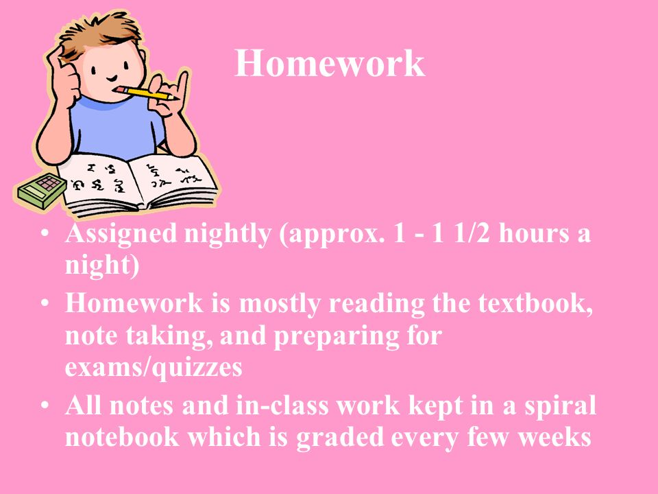 Homework Assigned nightly (approx /2 hours a night)