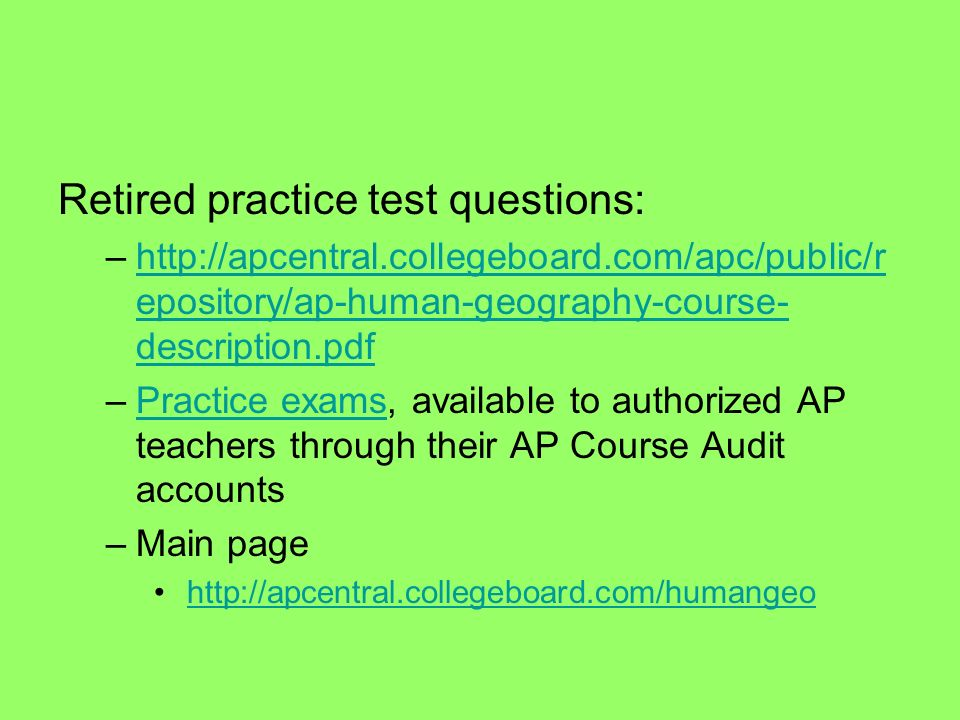 Retired practice test questions: