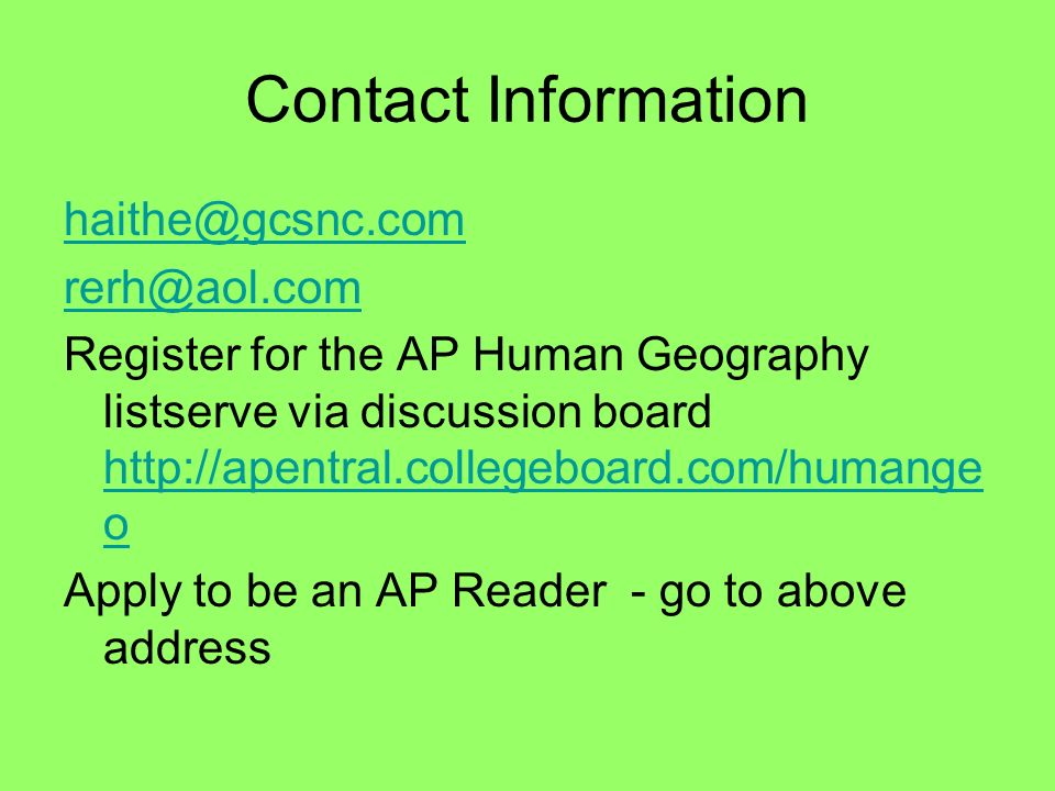 Contact Information haithe@gcsnc.com. rerh@aol.com.
