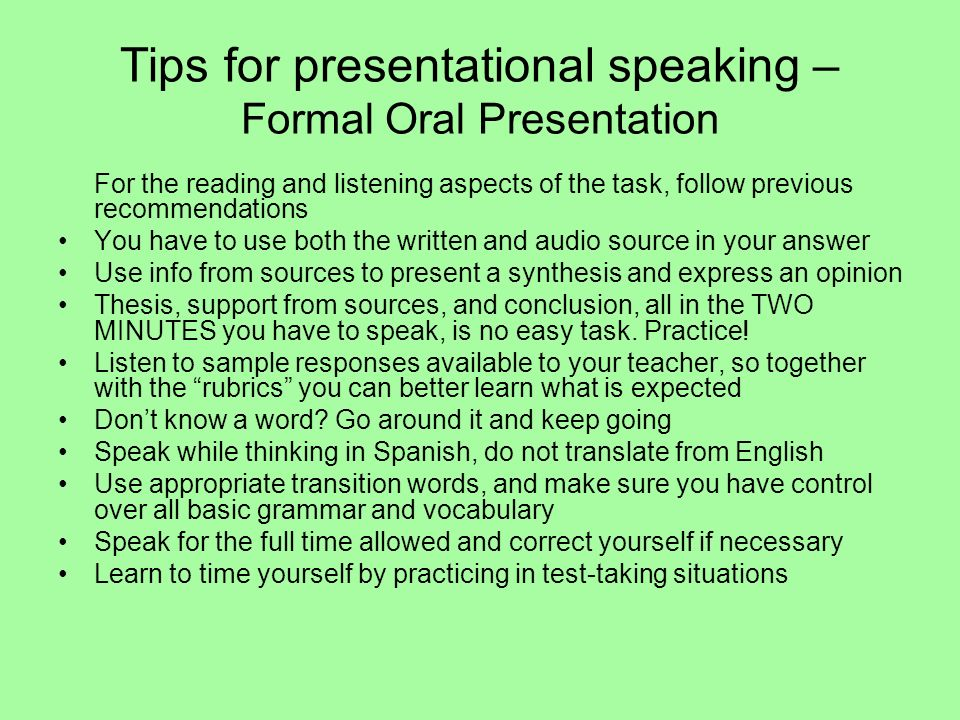 Tips for presentational speaking – Formal Oral Presentation