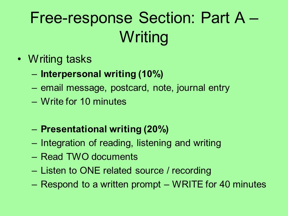 Free-response Section: Part A – Writing