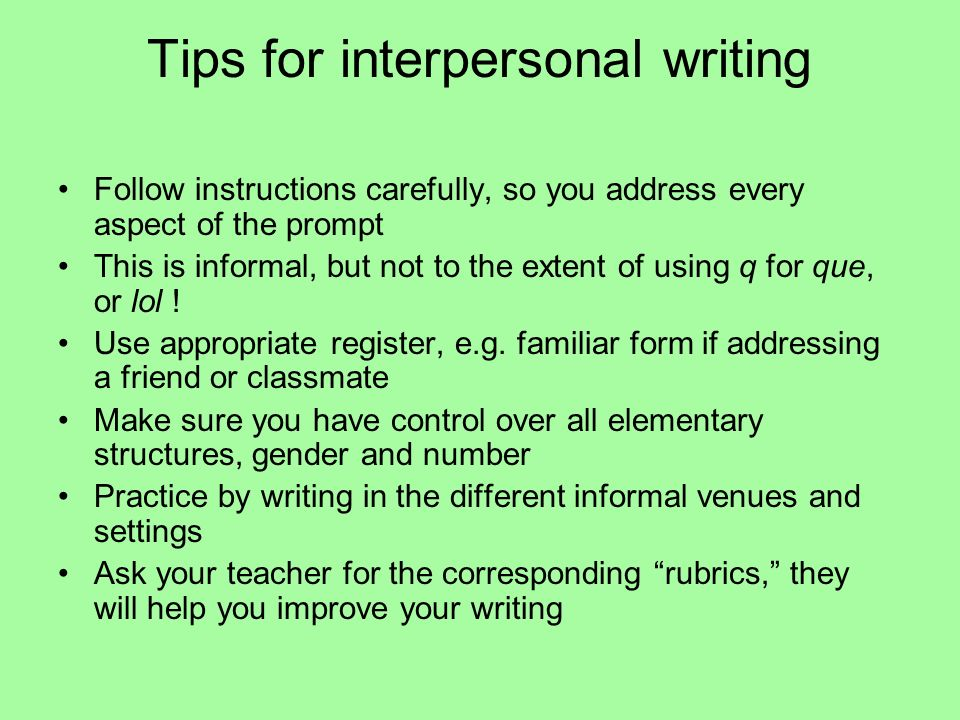 Tips for interpersonal writing