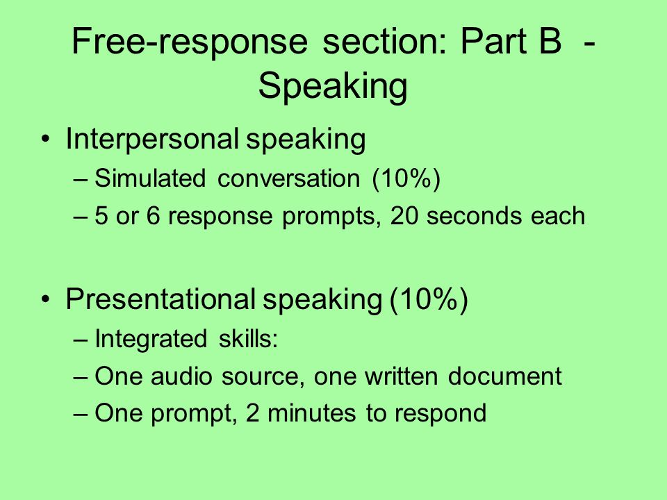 Free-response section: Part B - Speaking