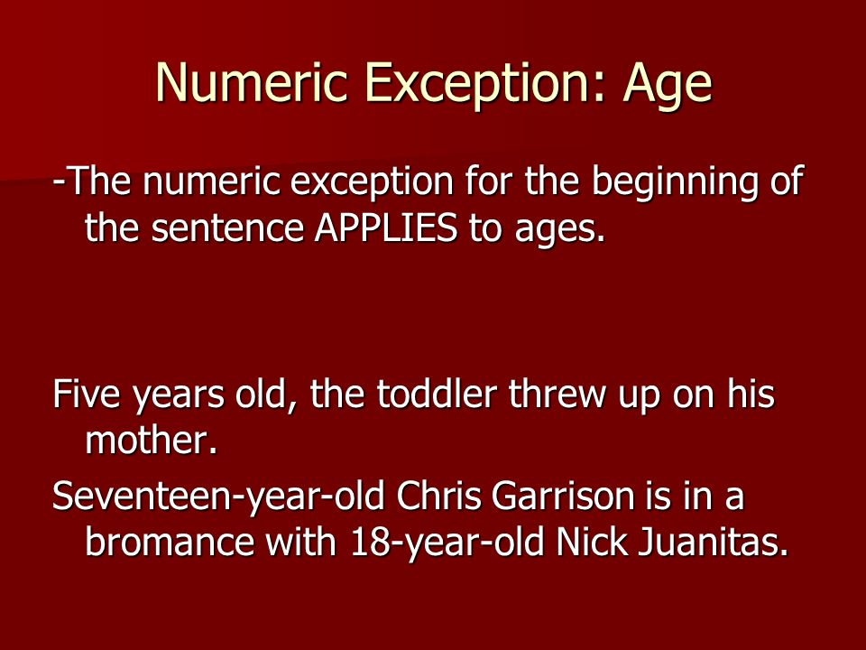 Numeric Exception: Age
