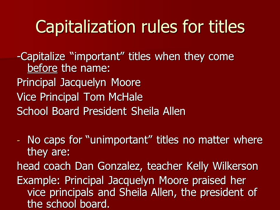 Capitalization rules for titles