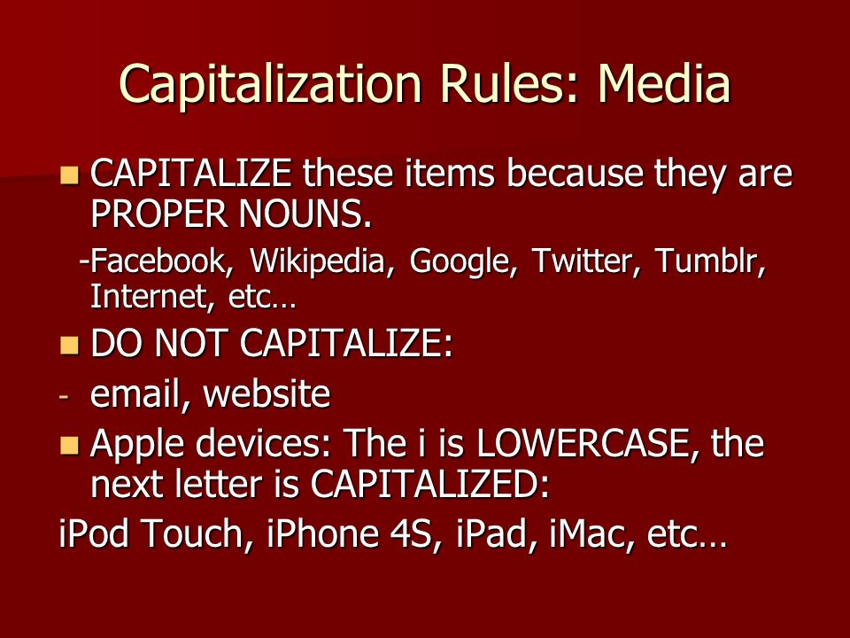 Capitalization Rules: Media