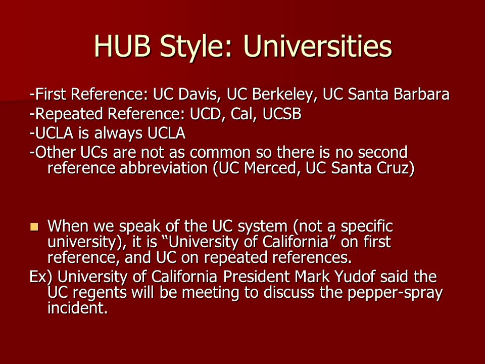HUB Style: Universities