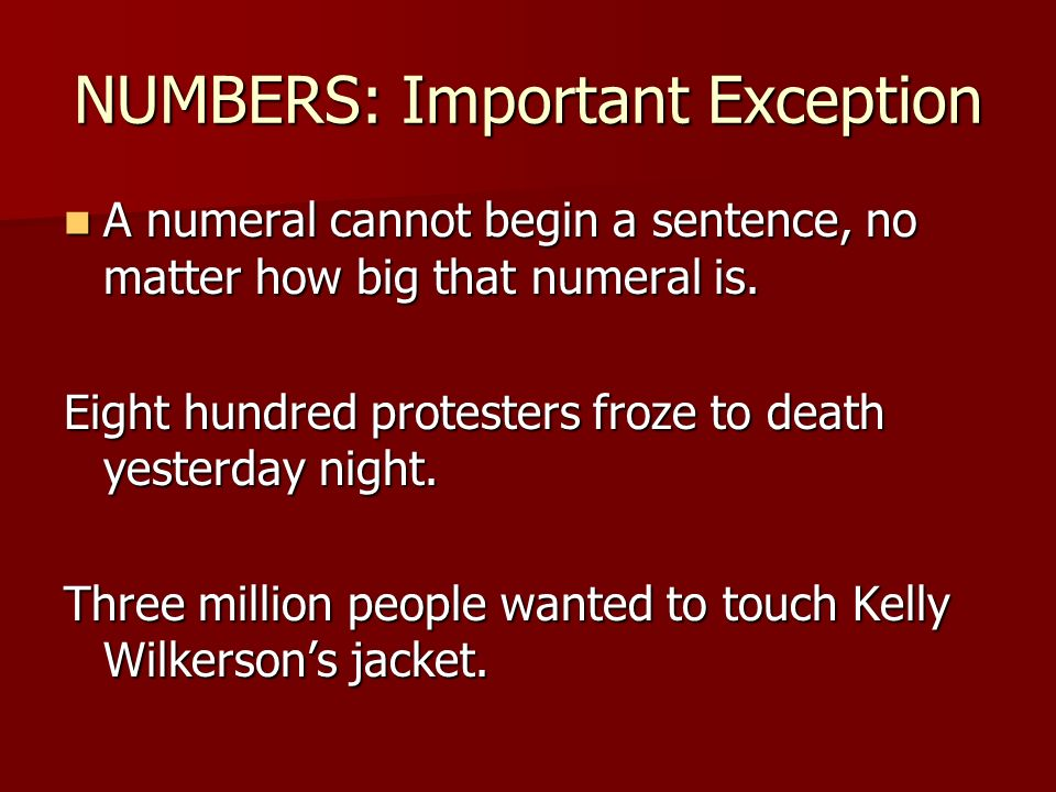 NUMBERS: Important Exception