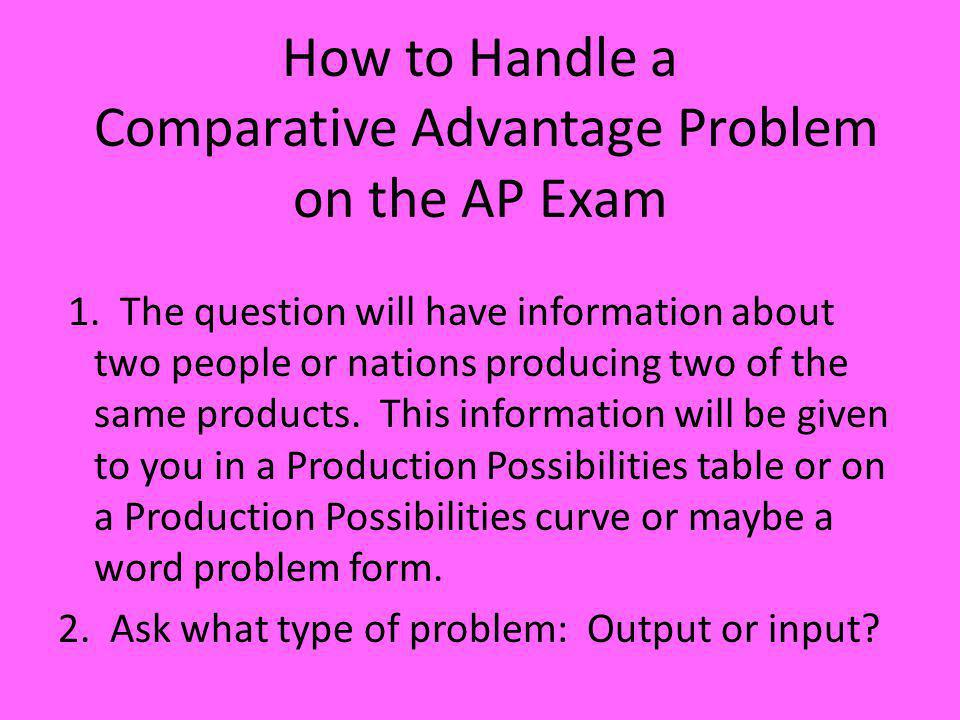 How to Handle a Comparative Advantage Problem on the AP Exam