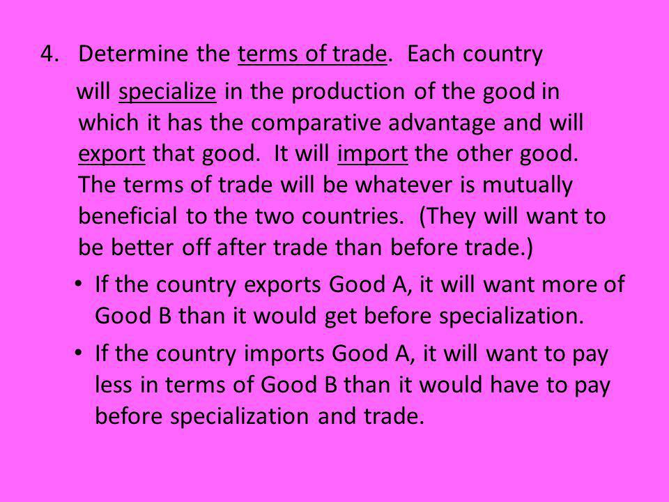 Determine the terms of trade. Each country