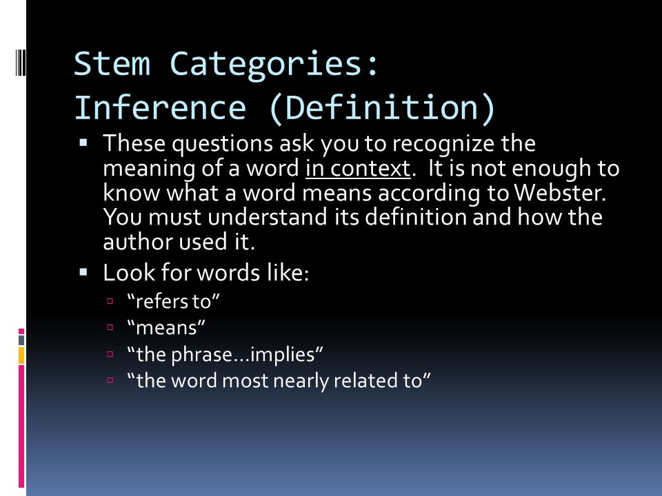 Stem Categories: Inference (Definition)