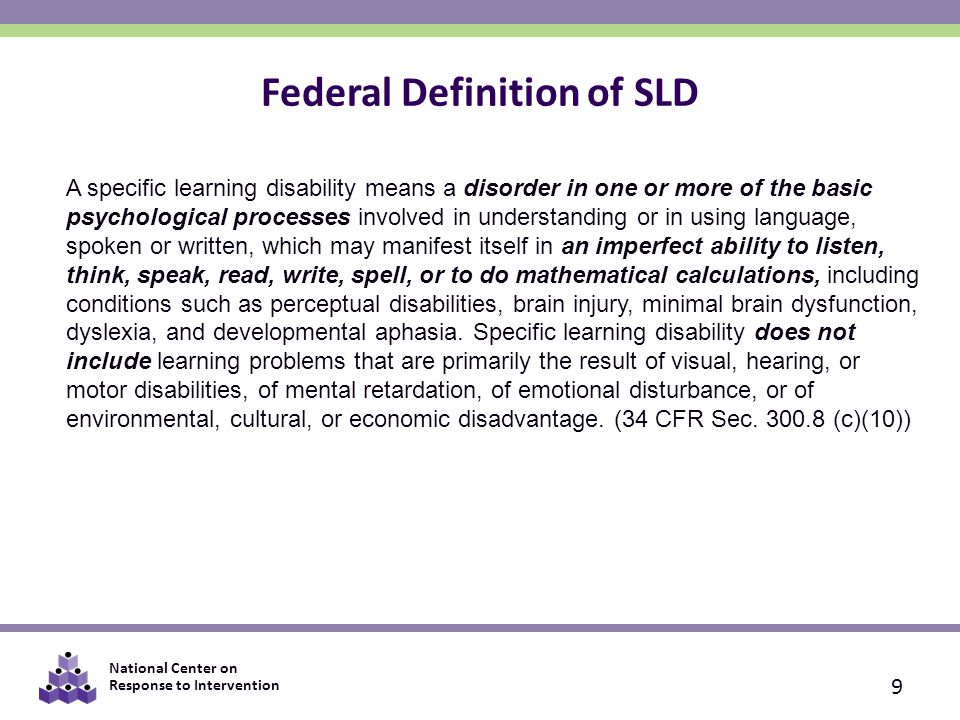 Federal Definition of SLD