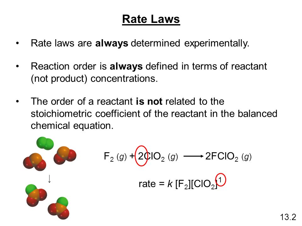 Rate Laws Rate laws are always determined experimentally.