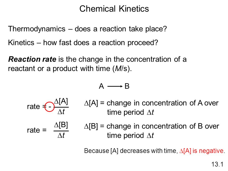 Chemical Kinetics Thermodynamics – does a reaction take place