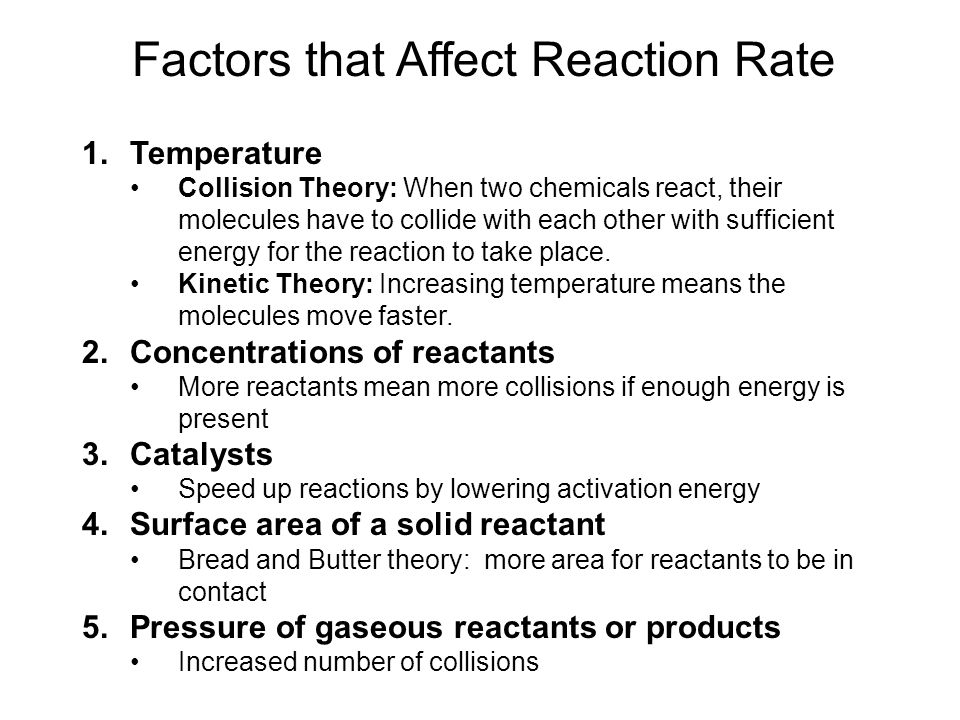 Factors that Affect Reaction Rate