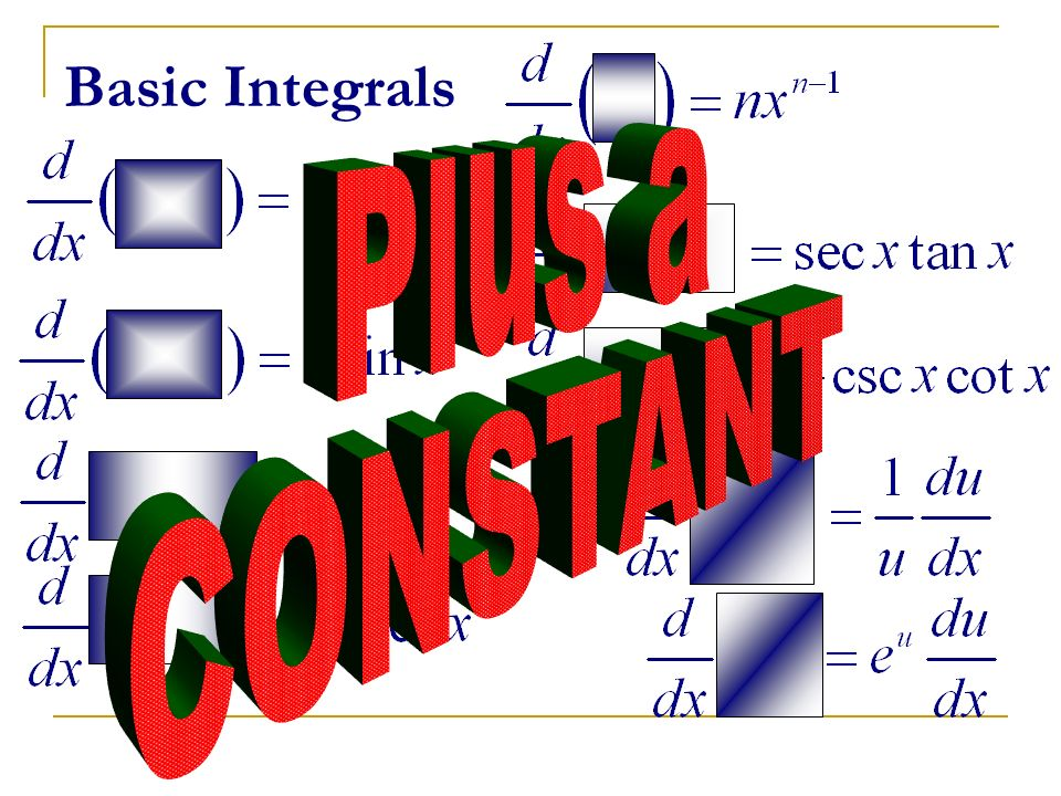 Basic Integrals Plus a CONSTANT