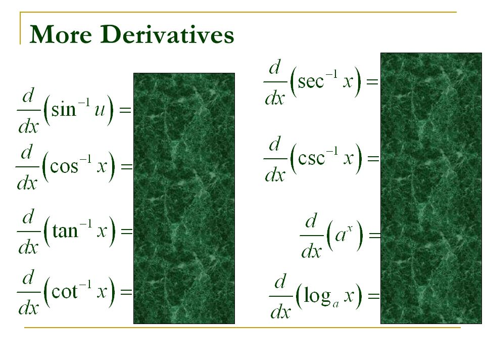 More Derivatives
