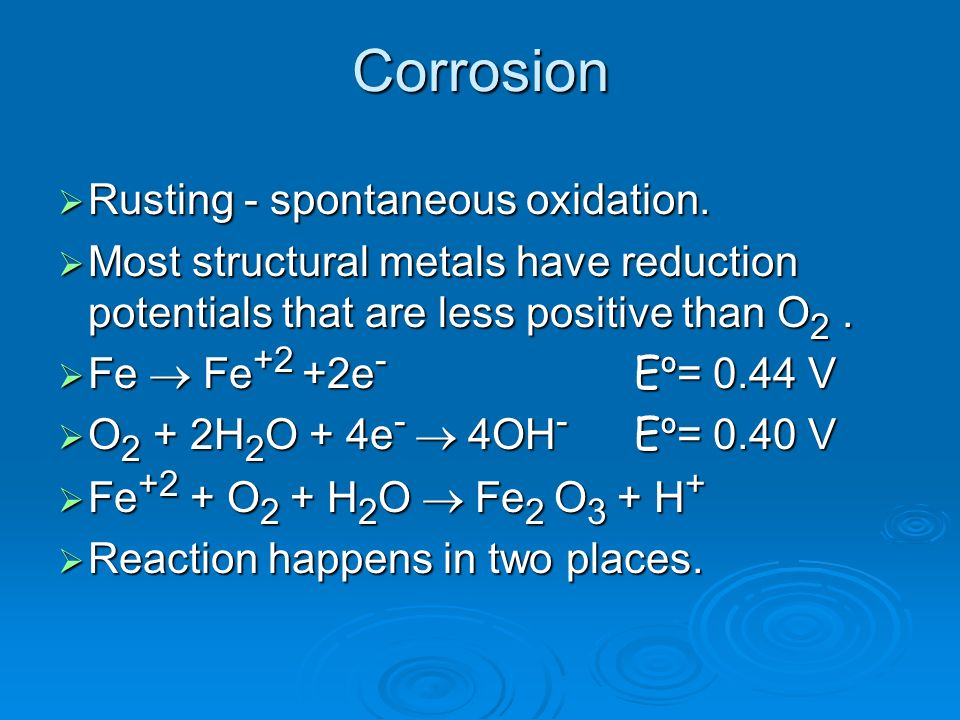 Corrosion Rusting - spontaneous oxidation.