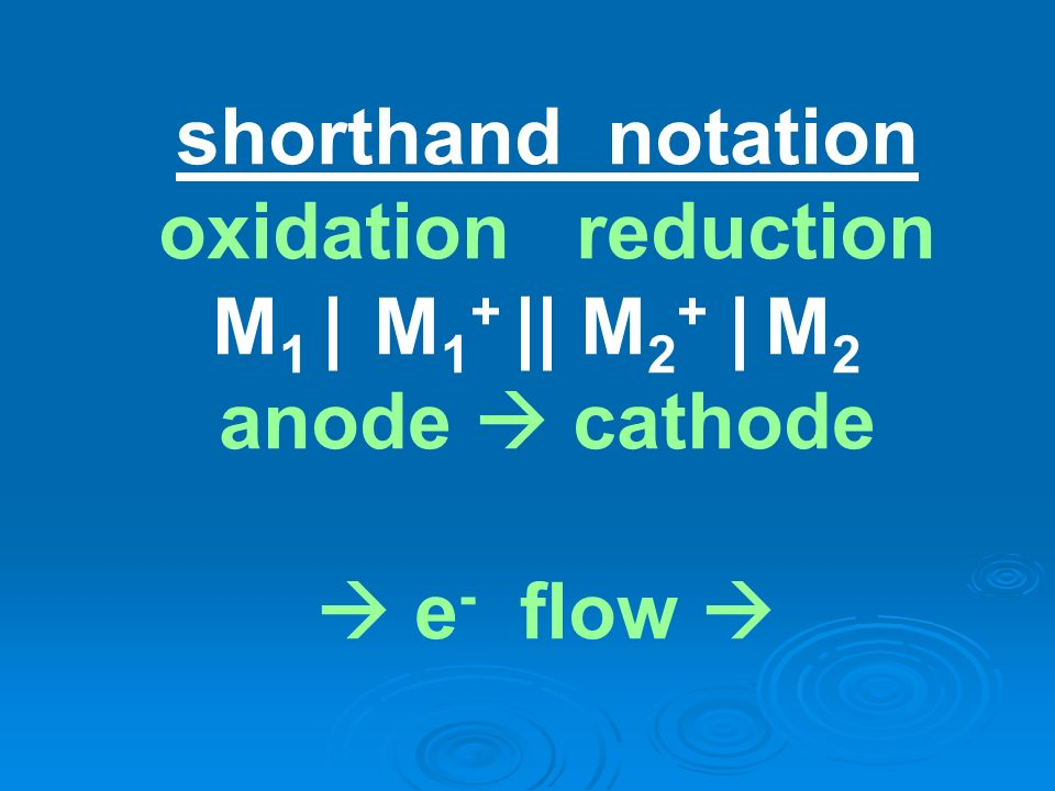 shorthand notation oxidation reduction M1 | M1+ || M2+ | M2 anode  cathode  e- flow 